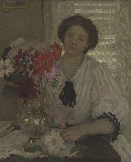 An image of Arranging flowers by E Phillips Fox