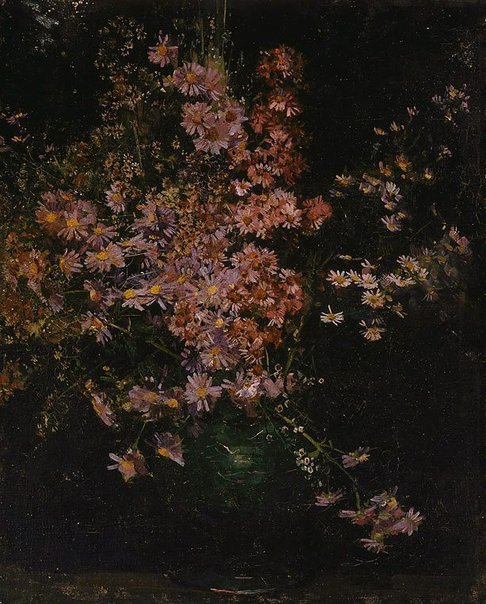 An image of Michaelmas daisies by Arthur Streeton