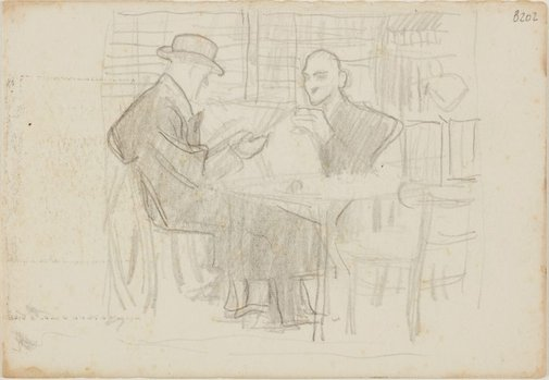 An image of (Two men reading at a table) (London genre) by William Dobell