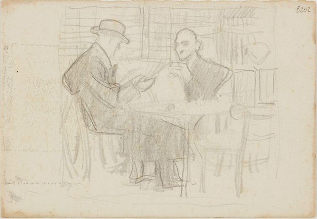 An image of (Two men reading at a table) (London genre)