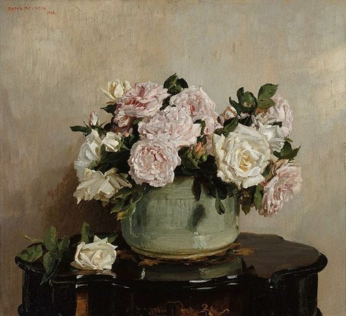 An image of A bowl of roses by Hans Heysen