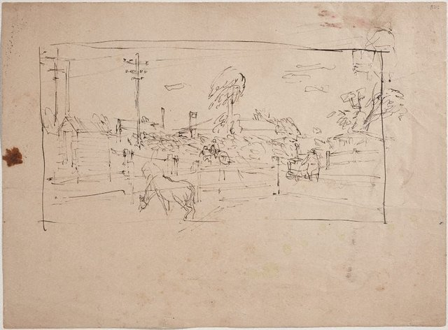 An image of (Landscape study with horse) (London genre)