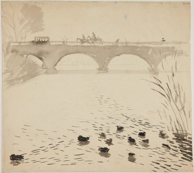 An image of (Bridge with ducks) (London genre)
