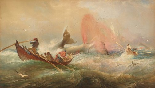 An image of Whalers off Twofold Bay, New South Wales by Sir Oswald Brierly