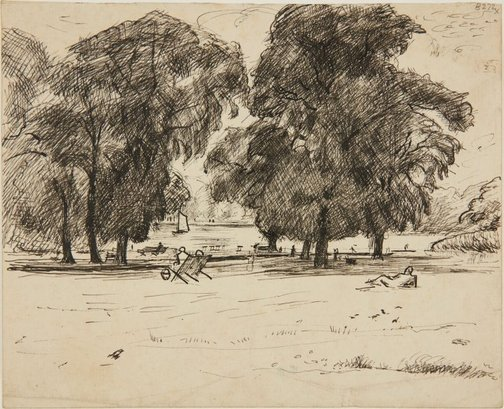 An image of Trees in Hyde Park by William Dobell