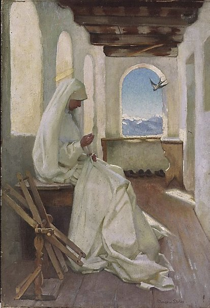 An image of Saint Elizabeth working for the poor by Marianne Stokes