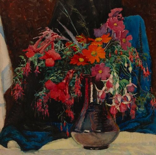 An image of Flowers and drapery by Vida Lahey