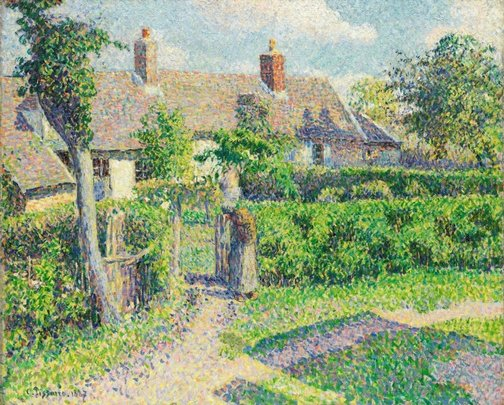 An image of Peasants' houses, Eragny by Camille Pissarro