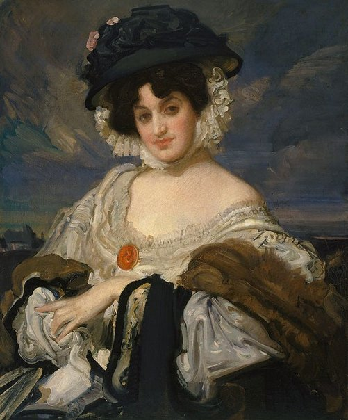 An image of Miss Halford in fancy dress by George W Lambert