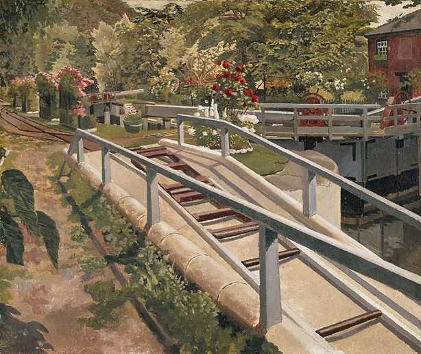 AGNSW collection Sir Stanley Spencer Cookham Lock 1935