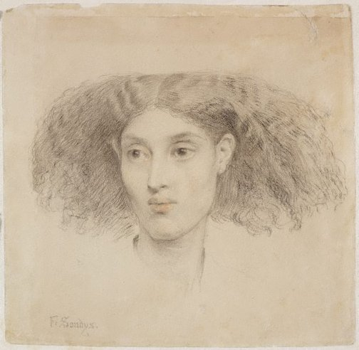 An image of Study of the head of a young mulatto woman, full face by Frederick Sandys
