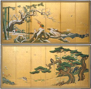 AGNSW collection Kanô Einô Pine, bamboo and plum blossom (17th century) 638.1994.a-b