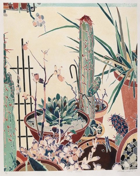 An image of Cactii garden by Cressida Campbell