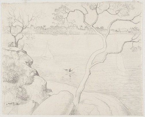 An image of recto: Drawing for 'Northwood Point with tree' verso: Impression of 'Northwood Point with tree' by Lloyd Rees