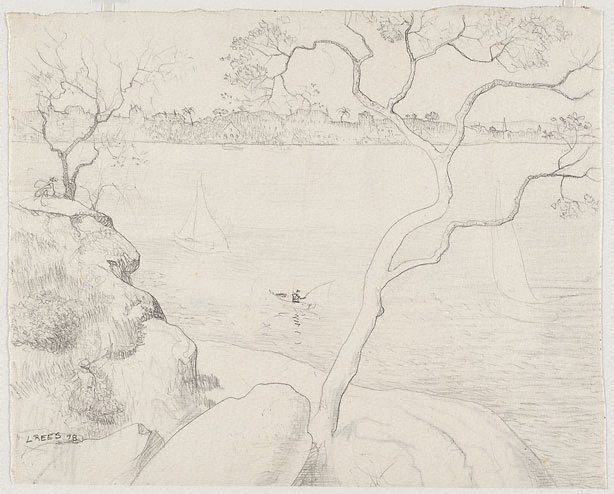 An image of recto: Drawing for 'Northwood Point with tree' verso: Impression of 'Northwood Point with tree'