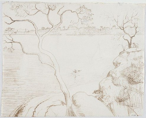 Alternate image of recto: Drawing for 'Northwood Point with tree' verso: Impression of 'Northwood Point with tree' by Lloyd Rees