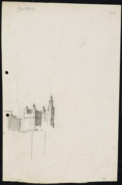 An image of recto: The Trust Building and the GPO clock tower verso: Three small studies of houses in the landscape by Lloyd Rees