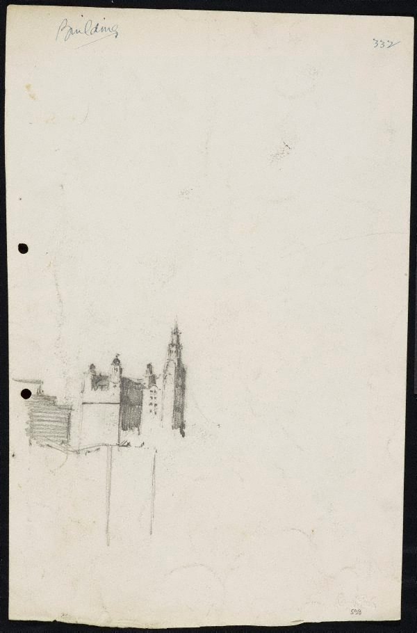 An image of recto: The Trust Building and the GPO clock tower verso: Three small studies of houses in the landscape
