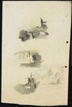 Alternate image of recto: The Trust Building and the GPO clock tower verso: Three small studies of houses in the landscape by Lloyd Rees