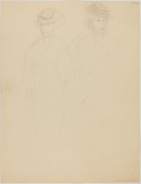 An image of (Studies of woman with hat) (London genre) by William Dobell