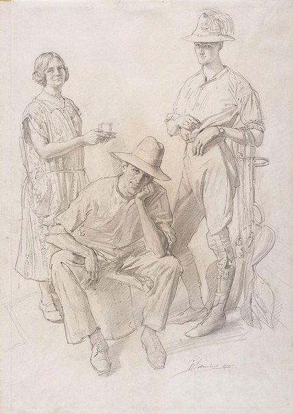 An image of Mrs Lambert, Mr Gordon and Mr Snekker by George W Lambert