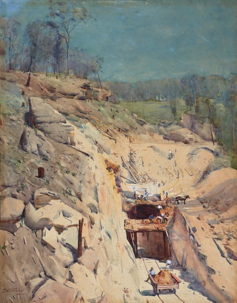 An image of Blue Mountain tunnel by Arthur Streeton