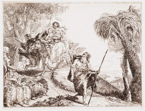 An image of The Flight into Egypt: The Holy Family descending a forest path, near a flock and some shepards by Giovanni Domenico Tiepolo