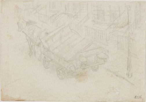 An image of (Horse and cart in street) (London genre) by William Dobell