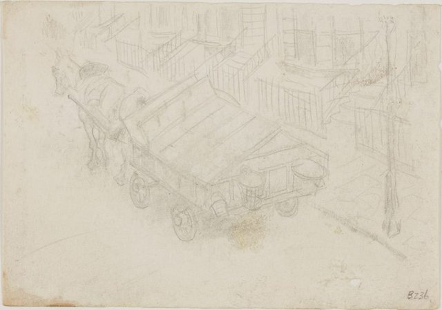 An image of (Horse and cart in street) (London genre)
