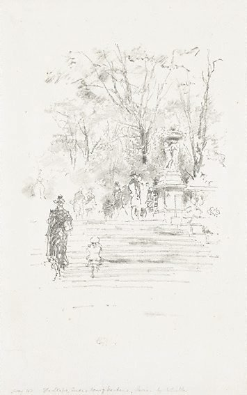 An image of The steps, Luxemburg Gardens, Paris by James Abbott McNeill Whistler