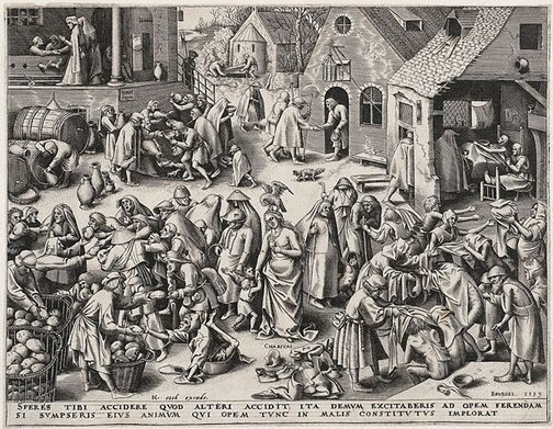 An image of Caritas by Philip Galle, after Pieter Bruegel the Elder
