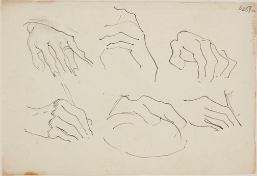 An image of (Studies of hands) (London genre) by William Dobell