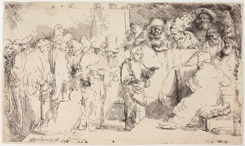 An image of Christ disputing with the doctors: a sketch by Rembrandt Harmensz. van Rijn