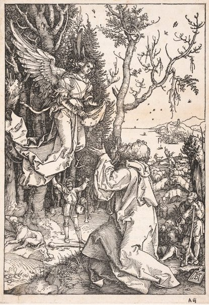An image of Joachim and the angel by Albrecht Dürer