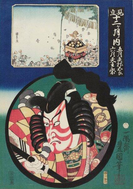An image of May - Yanone and June - Tenno festival by Utagawa Kunisada/Toyokuni III, Utagawa KUNIHISA