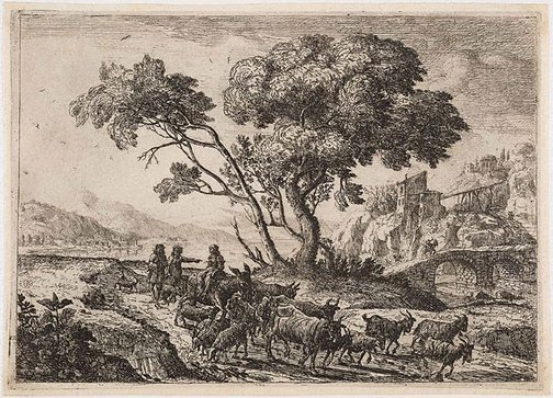 An image of The departure for the fields by Claude Lorrain