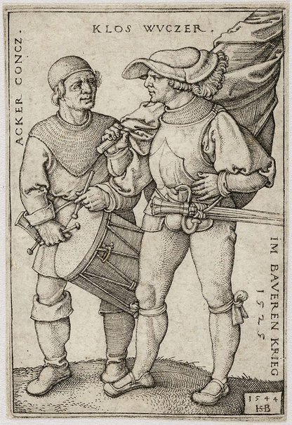 An image of Standard bearer and drummer by Hans Beham