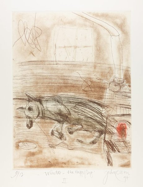 An image of Winter - the happy dog II by John Olsen
