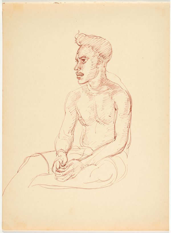 An image of recto: (Seated male native) verso: (Study of eyes)