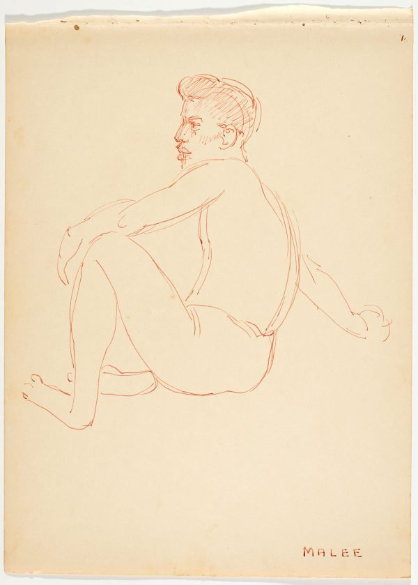 An image of recto: Malee verso: (Study of bending male and female natives)