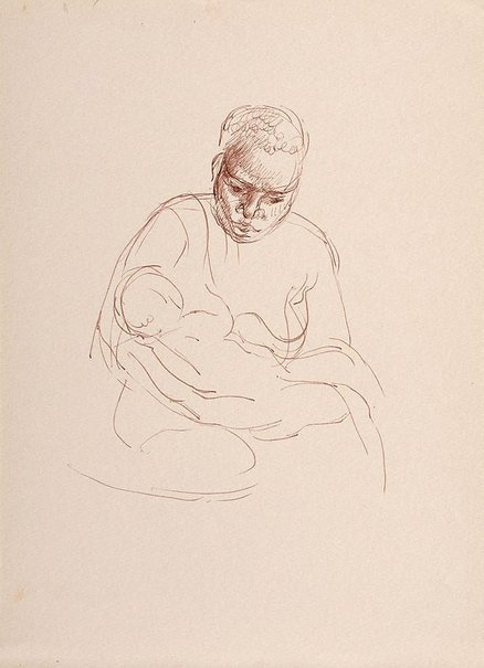 An image of recto: (Study of female native) verso: (Study of mother nursing a child) by Nora Heysen