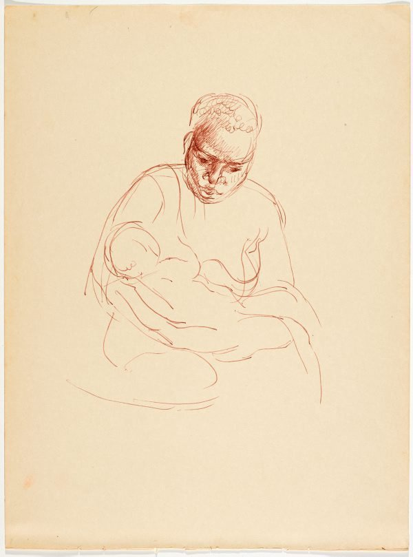 An image of recto: (Study of female native) verso: (Study of mother nursing a child)