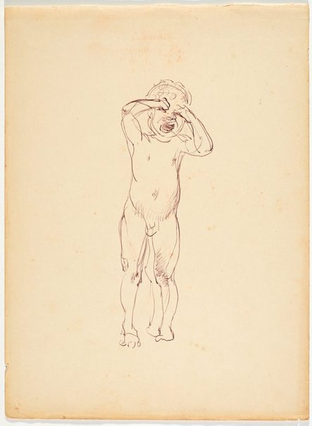 An image of recto: (Crying child) verso: (Study of natives fishing with a net, from a boat) by Nora Heysen