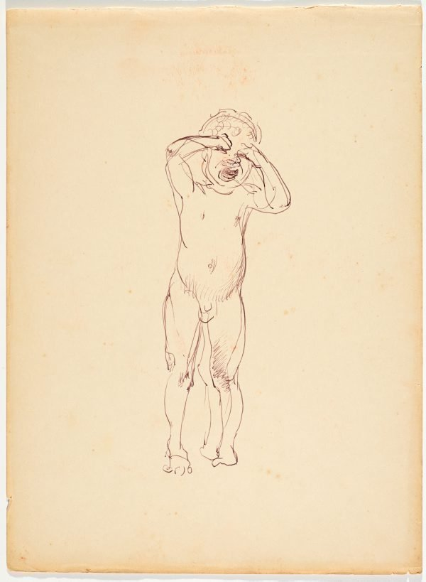 An image of recto: (Crying child) verso: (Study of natives fishing with a net, from a boat)