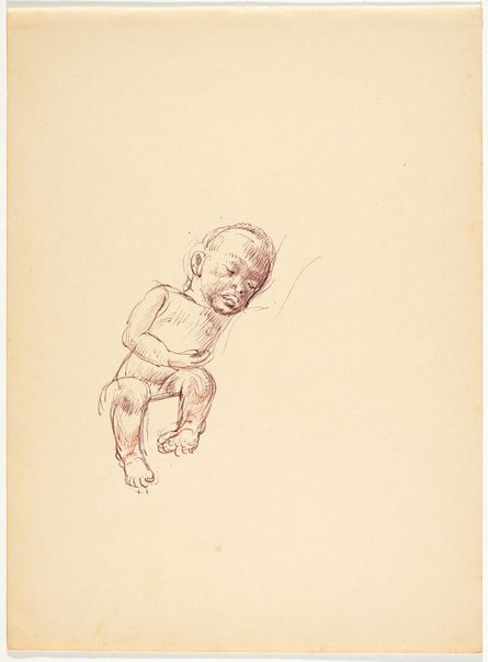 An image of recto: (Sleeping native child) verso: (Head study) by Nora Heysen