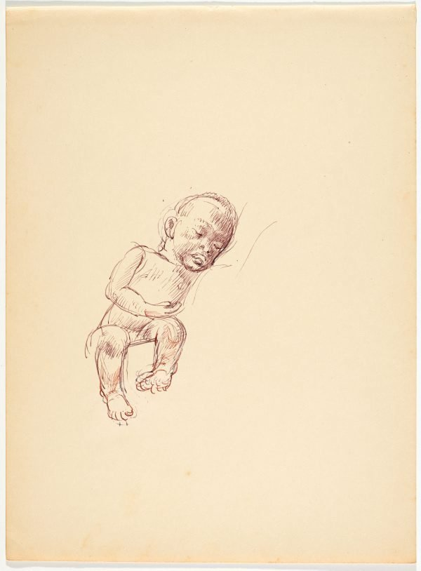 An image of recto: (Sleeping native child) verso: (Head study)