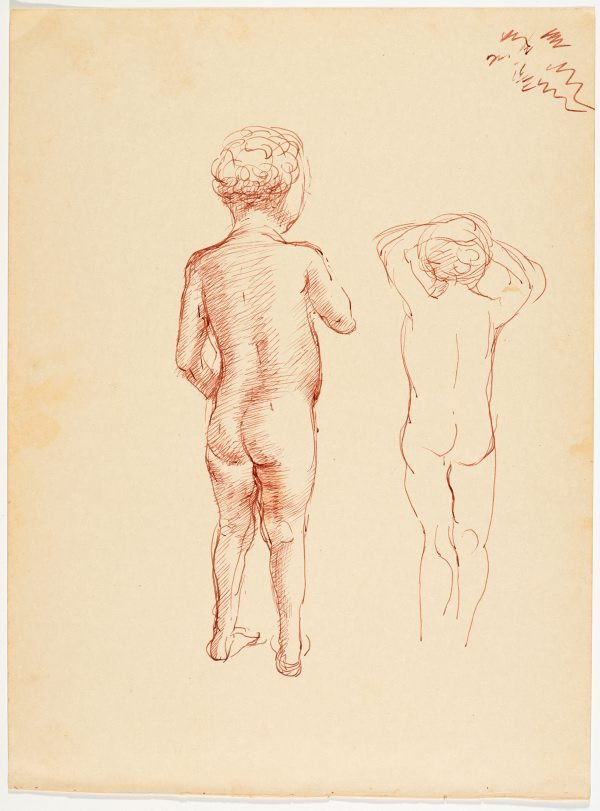 An image of recto: (Standing native child, rear view) verso: (Bending native figures)
