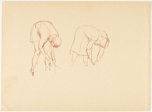 An image of recto: (Bending native figures) verso: (Child study) by Nora Heysen