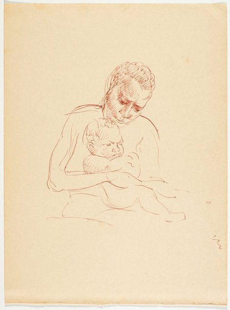 An image of recto: (Study of native nursing a child) verso: (Native mother and two children) by Nora Heysen