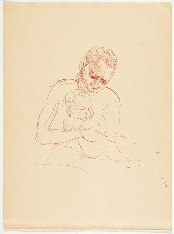 An image of recto: (Study of native nursing a child) verso: (Native mother and two children)